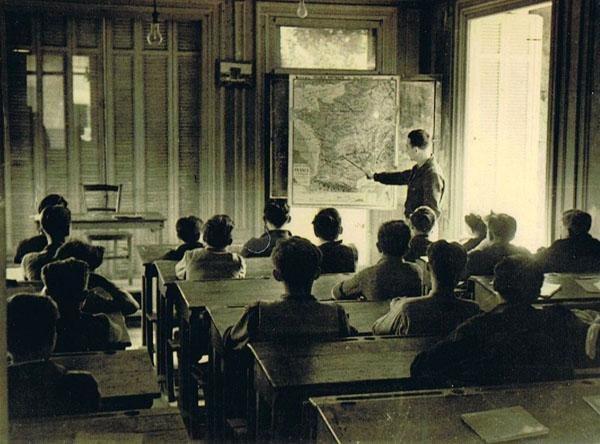 Cours de géographie en 1946.